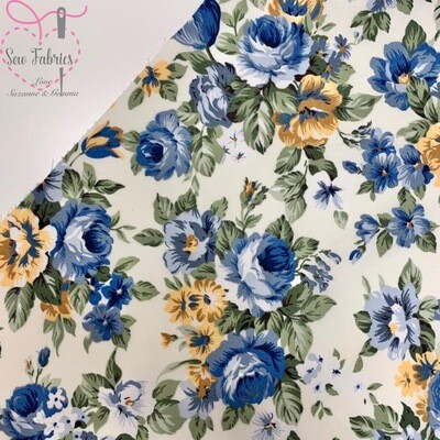 Rose & Hubble Ivory Blue Large Peony Print 100% Cotton Poplin Floral Fabric