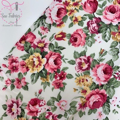 Rose & Hubble Pink Large Peony Print 100% Cotton Poplin Floral Fabric
