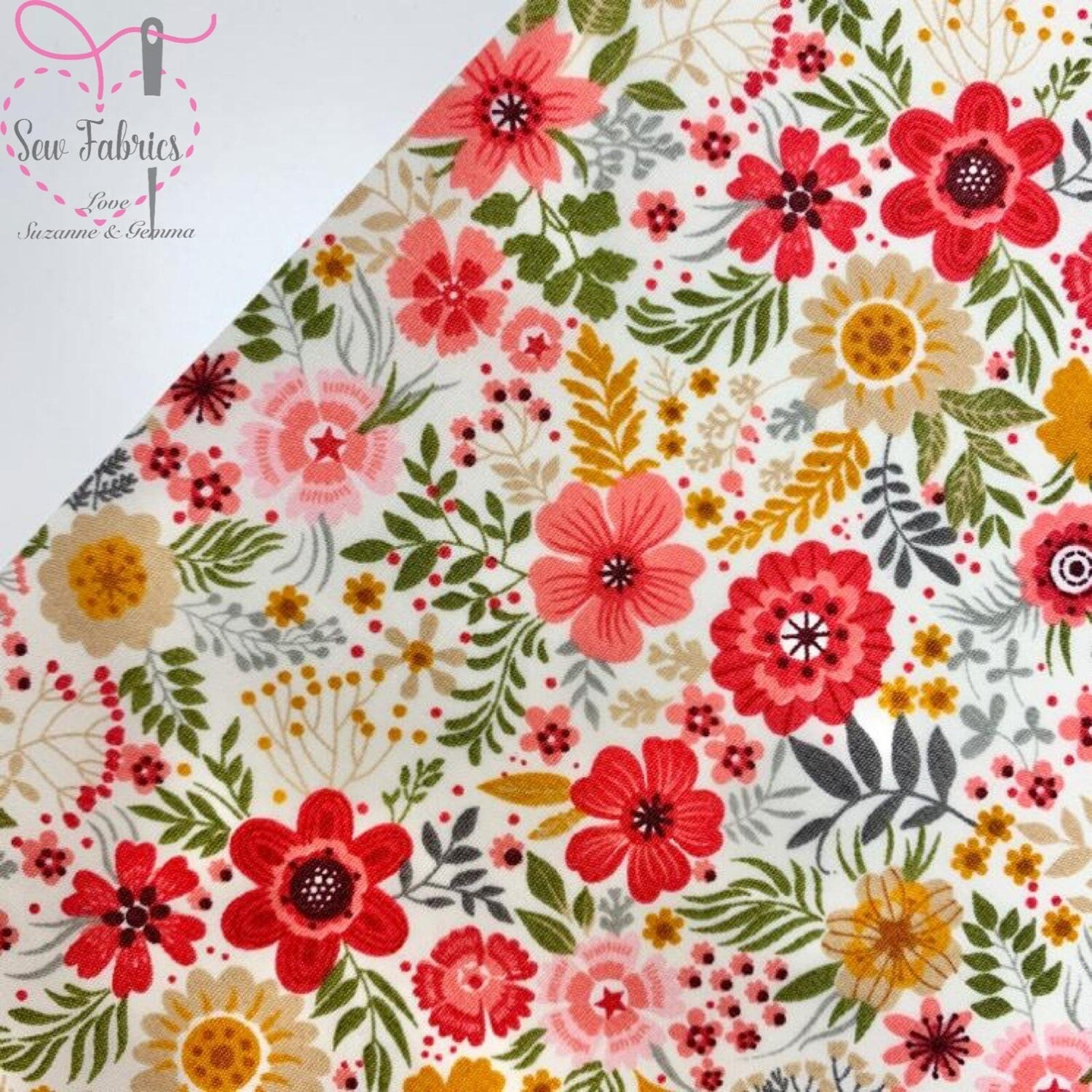 Rose & Hubble Pretty Petals Floral Print 100% Cotton Poplin Fabric