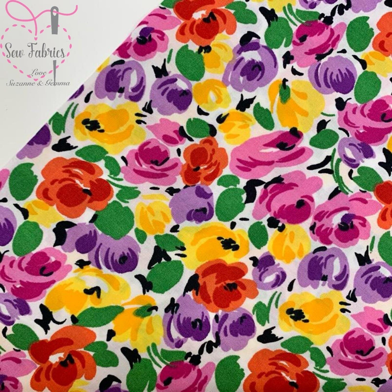 Rose & Hubble Bright Floral Print 100% Cotton Poplin Fabric