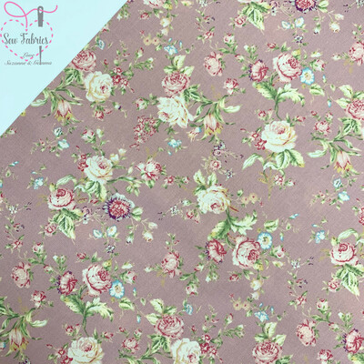 Rose and Hubble Fabric Blush Floral Fabric Vintage 100% Cotton Poplin Flower Material Sewing
