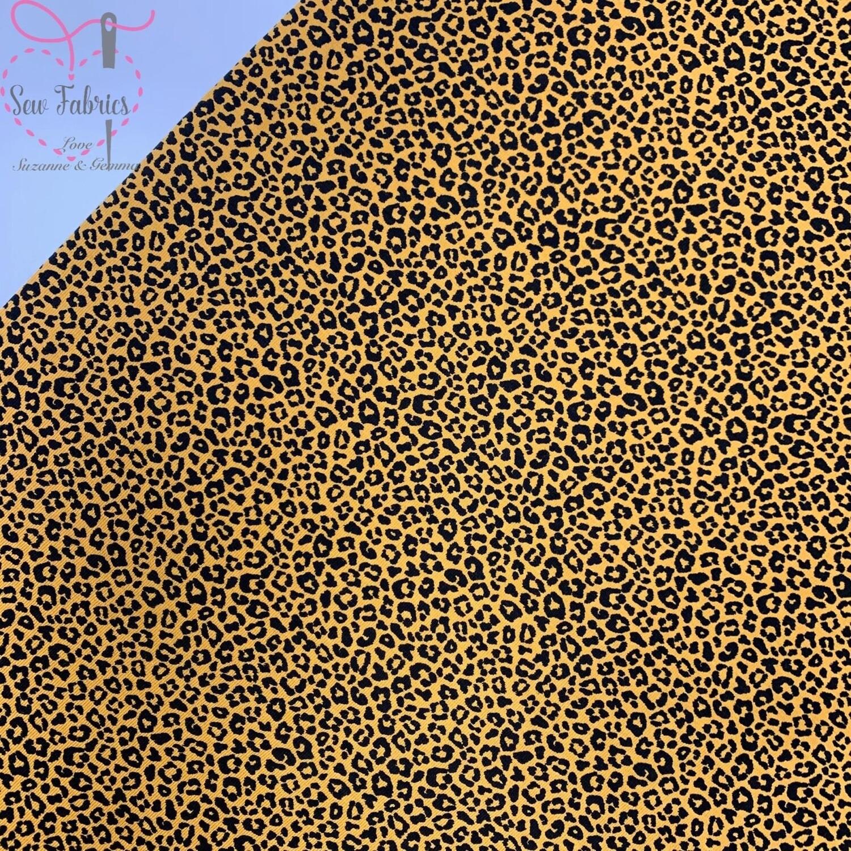 John Louden Fabric Ochre Leopard Print Cotton Elastane Printed Jersey, Mustard Yellow