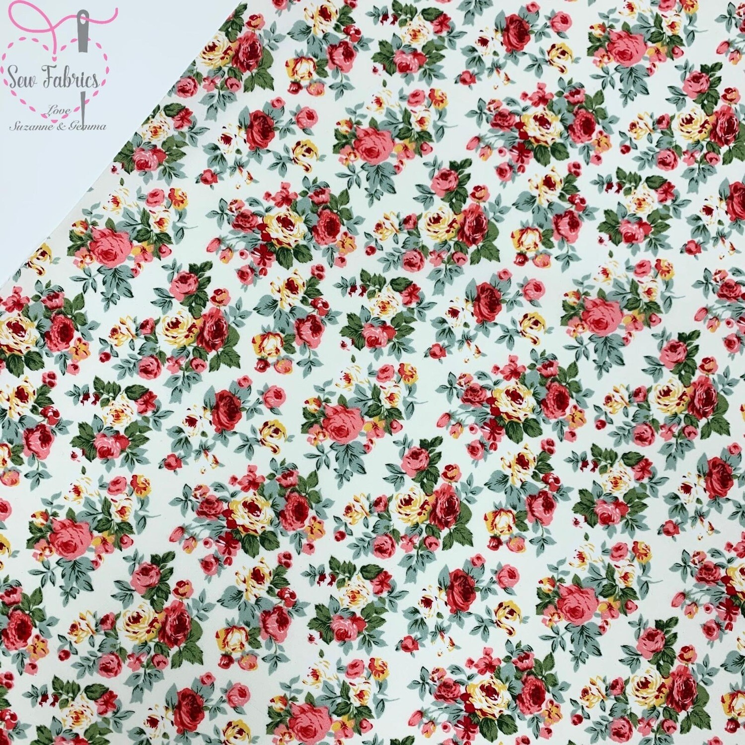 Rose and Hubble Ivory Bunch of Peonies Floral Fabric Cream Vintage Floral 100% Cotton Poplin Flower Material Sewing