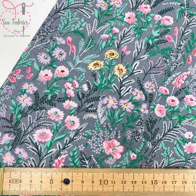 Rose & Hubble Grey Floral Delight 100% Cotton Poplin Fabric