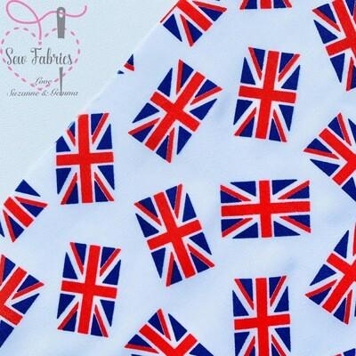 White Union Jack Flag Print Polycotton Fabric, VE Day Bunting Flag
