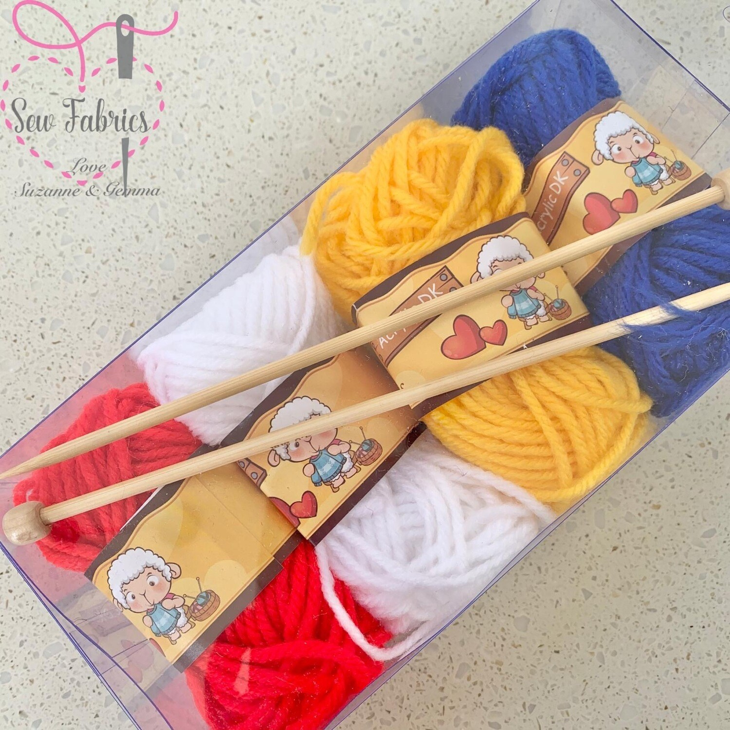 Whitecroft Children's Knitting Kit, 4 Balls of Wool and Knitting Needles