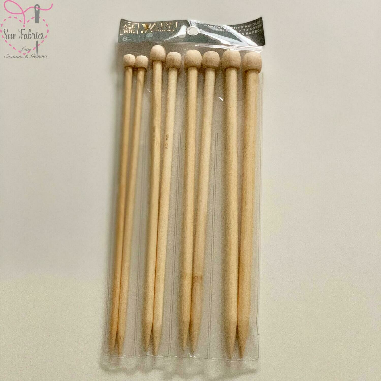 Pack of 4 Darice Bamboo Knitting Needles / Pins in Sizes 7mm, 9mm, 10mm and 12mm