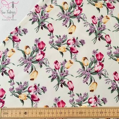 Rose & Hubble Ivory Tulip Floral 100% Cotton Poplin Fabric
