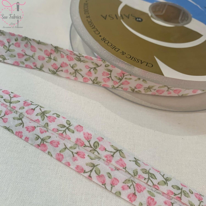 20 metre reel of 20mm Width Pink Flower Bud Print Polycotton Bias Binding