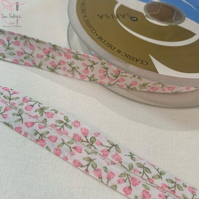 20 metre reel of 20mm Width Pink Flower Bud Print Polycotton Bias Binding