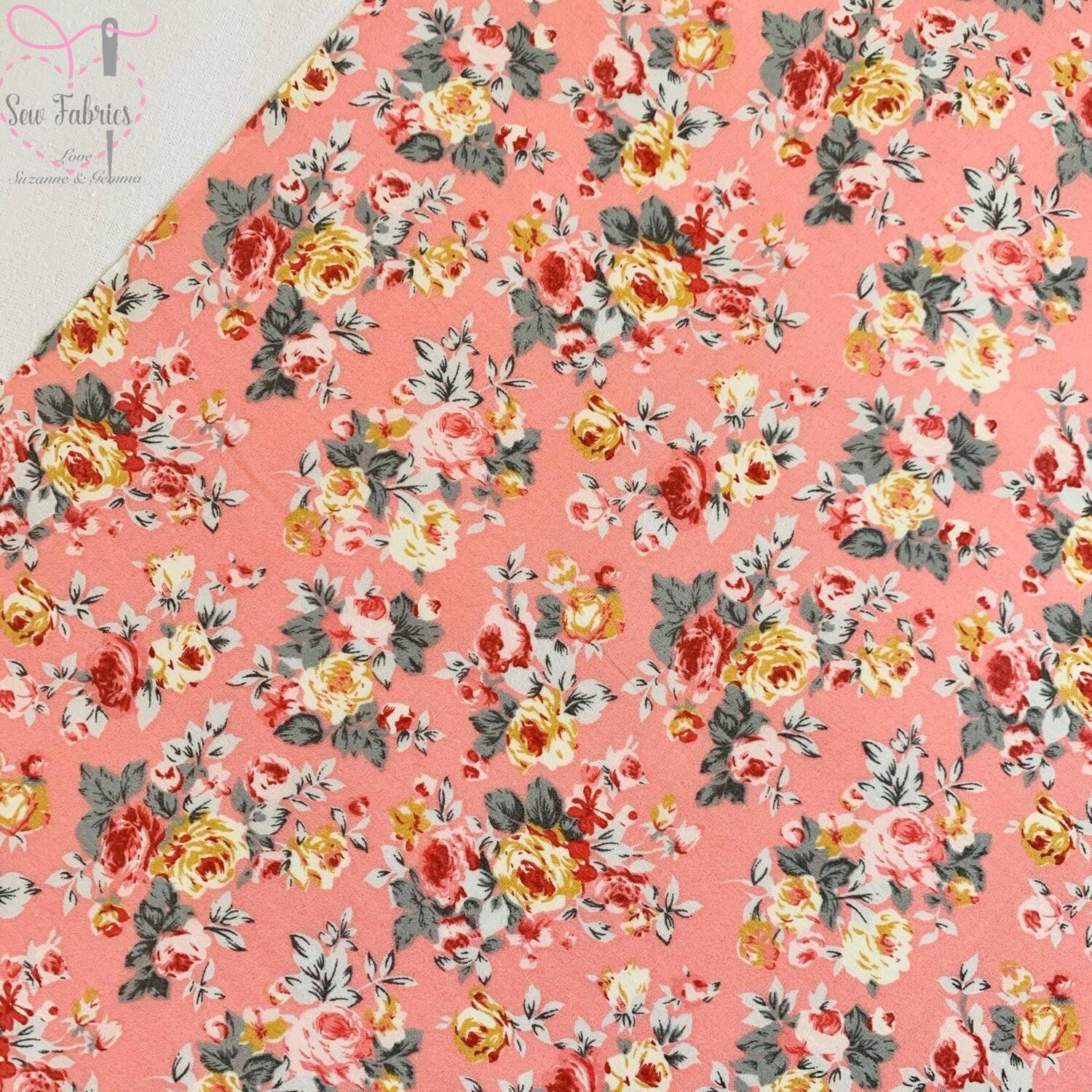 Rose and Hubble Rose Pink Bunch of Peonies Floral Fabric Vintage Floral 100% Cotton Poplin Flower Material Sewing