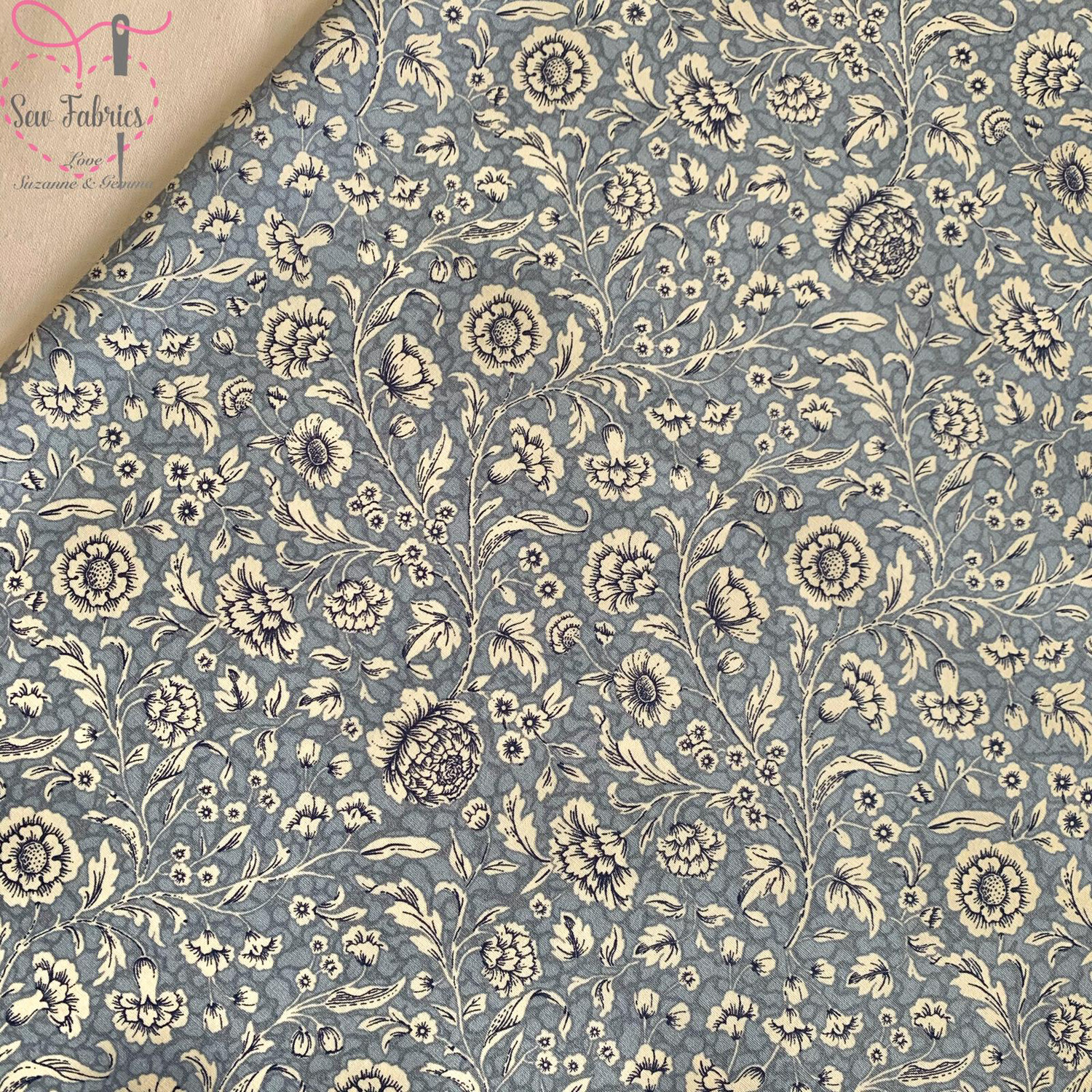 Rose and Hubble Delph Blue Floral Breeze Fabric Vintage Floral 100% Cotton Poplin Flower Material Sewing