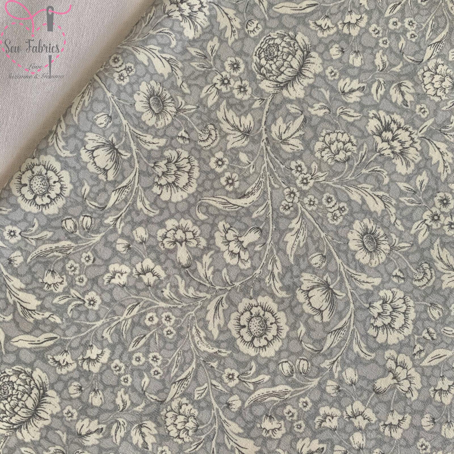 Rose and Hubble Silver Floral Breeze Fabric Vintage Floral 100% Cotton Poplin Flower Material Sewing