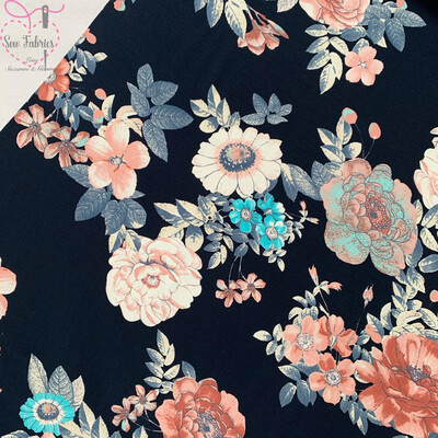 Navy Floral Cotton Tricot Jersey Fabric