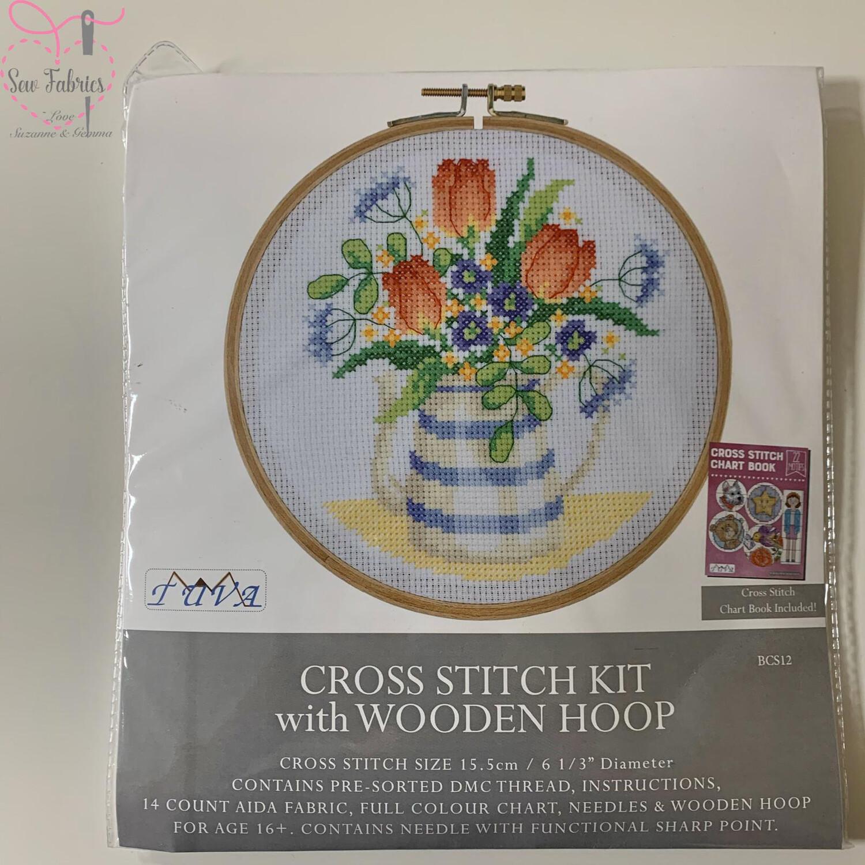 French Tulips DMC Cross Stitch Hoop Kit
