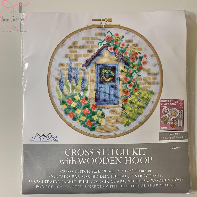 Summer Cottage DMC Cross Stitch Hoop Kit