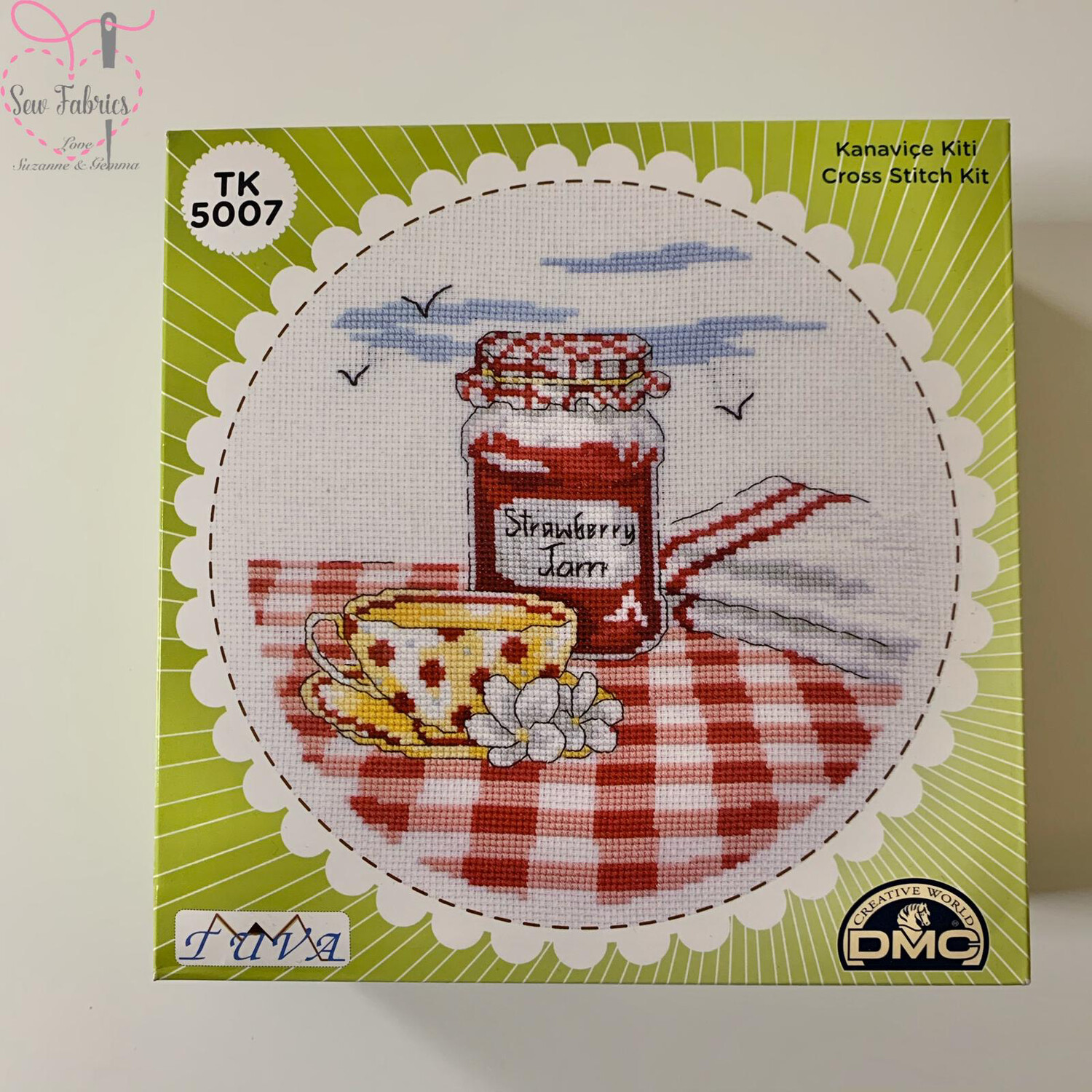 Tea & Jam DMC Cross Stitch Kit with Metal Presentation Box