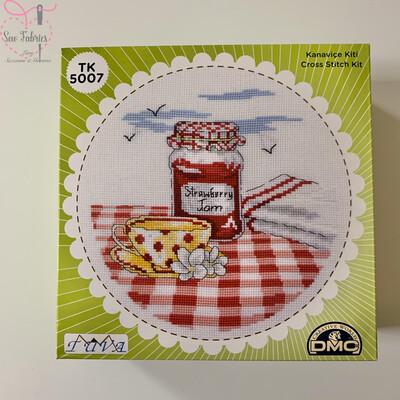 Tea & Jam DMC Cross Stitch Kit with Metal Presentation Box
