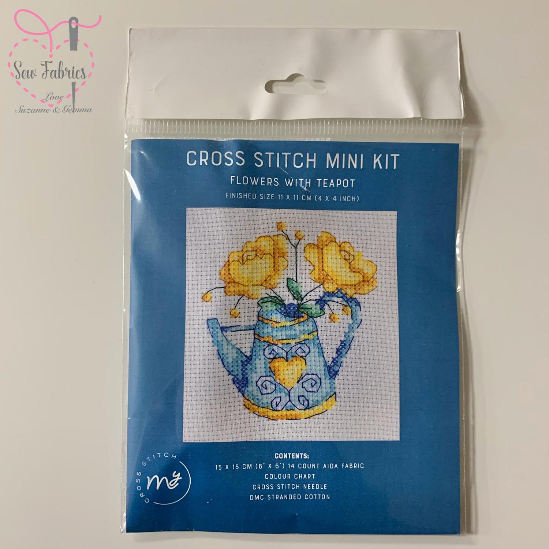 "Flowers with Teapot My Cross Stitch Mini Kit 6""x6"""