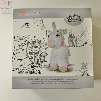 The Knitty Critters Collection, Sophia Unicorn Crochet Kit for Beginners,  Supersized and Gift Boxed Unicorn Kit