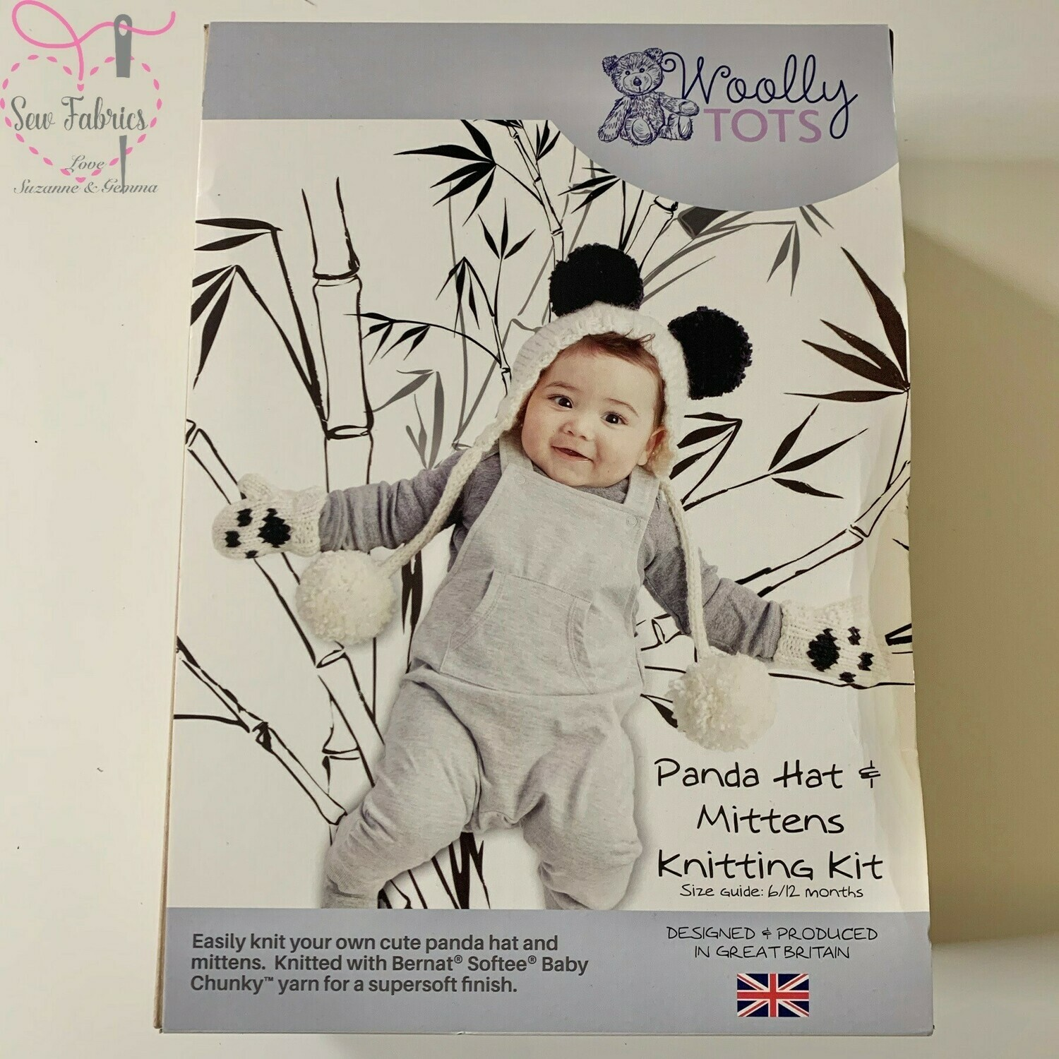 Woolly Tots Panda Hat and Mittens Knitting Kit