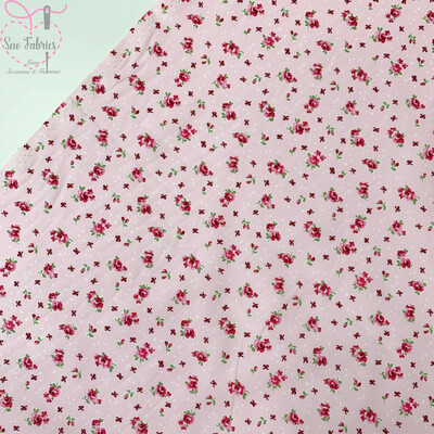 Rose & Hubble Pink Ditsy Roses Floral Fabric 100% Cotton Poplin Cream Vintage Flower Material