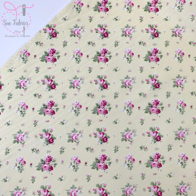 Rose & Hubble Lemon Dainty Bouquet Floral Fabric 100% Cotton Poplin