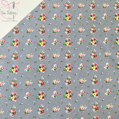 Rose & Hubble Grey Dainty Bouquet Floral Fabric 100% Cotton Poplin