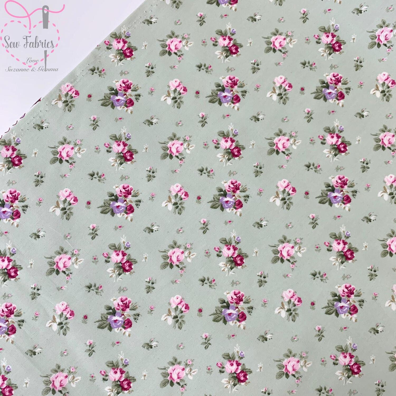 Rose & Hubble Meadow Green Dainty Bouquet Floral Fabric 100% Cotton Poplin