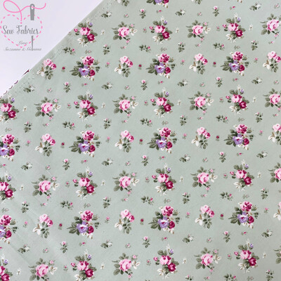 Rose & Hubble Meadow Green Dainty Bouquet Floral Fabric 100% Cotton Poplin