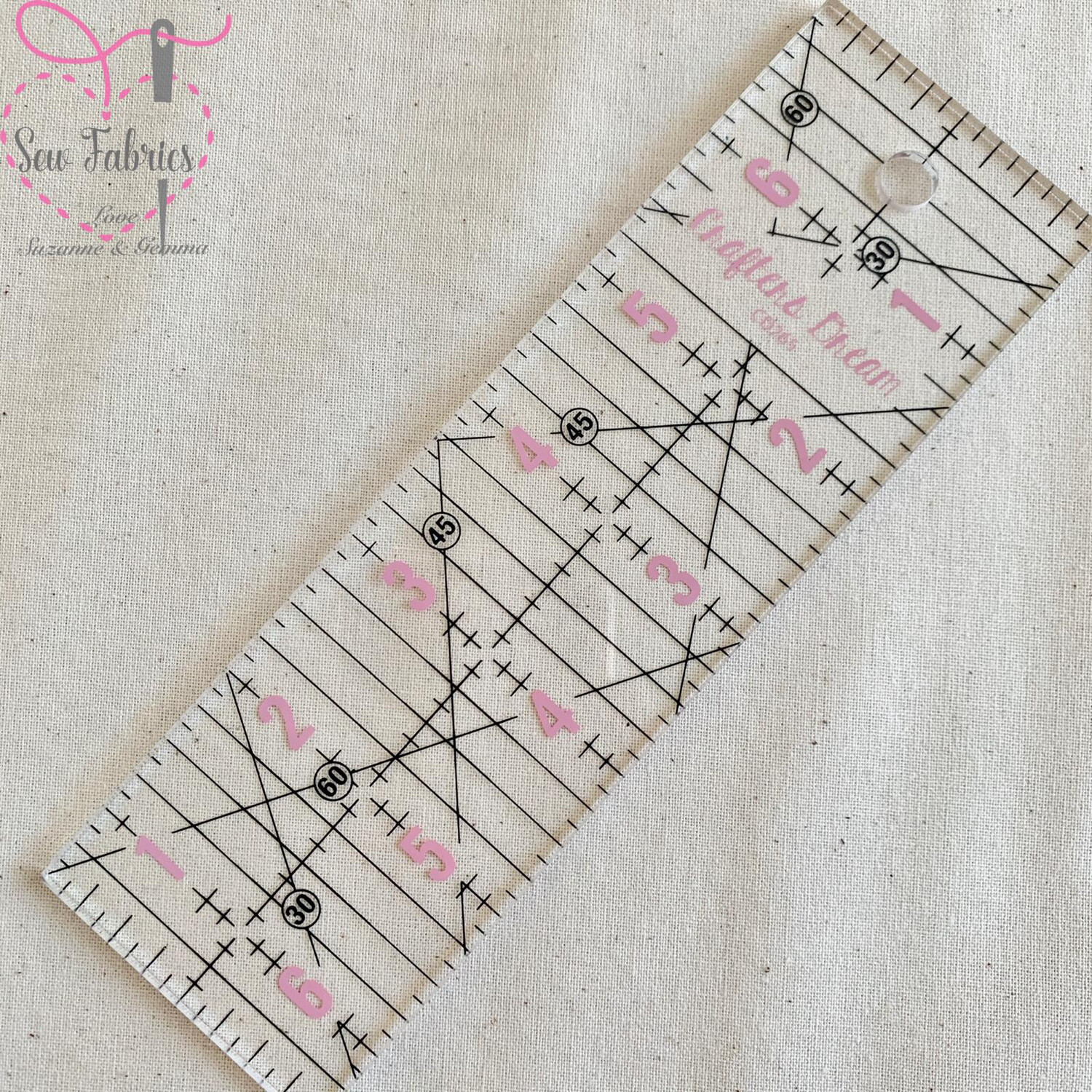 Crafters Dream Quilting Ruler 2 x 6.5""