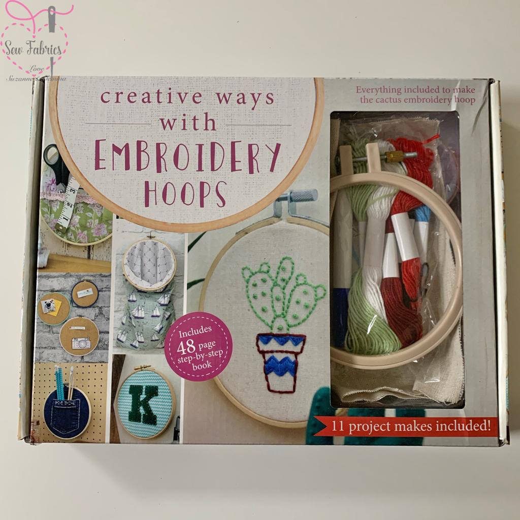 Embroidery Hoops Box Kit, Cactus Set, 11 Projects Included