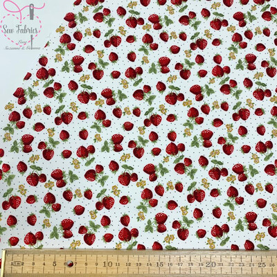Rose & Hubble Ivory Summer Strawberry Print Fabric 100% Cotton Poplin Material