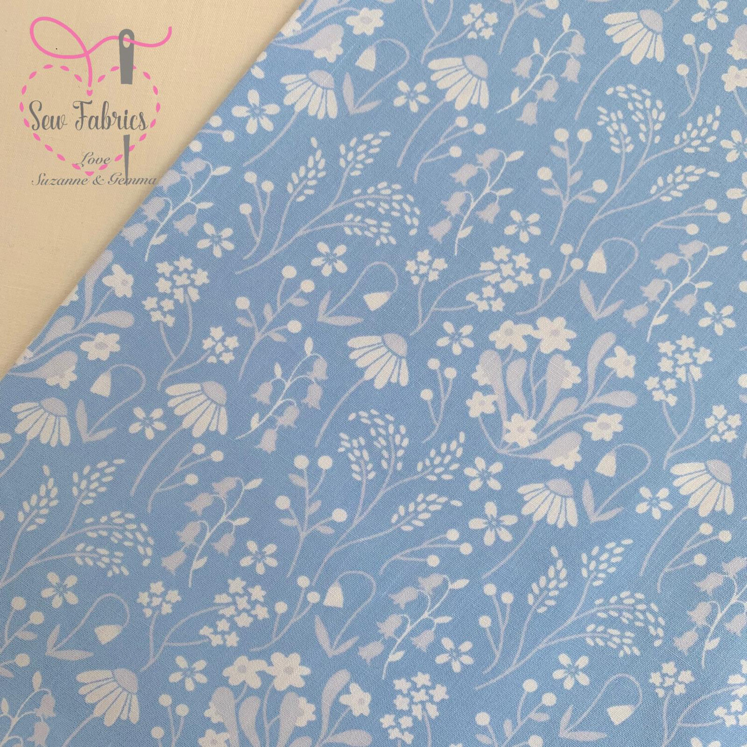 Rose & Hubble Blue Wildflower Floral Fabric 100% Cotton Poplin