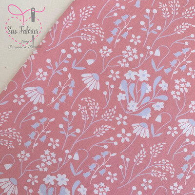 Rose & Hubble Rose Pink Wildflower Floral Fabric 100% Cotton Poplin