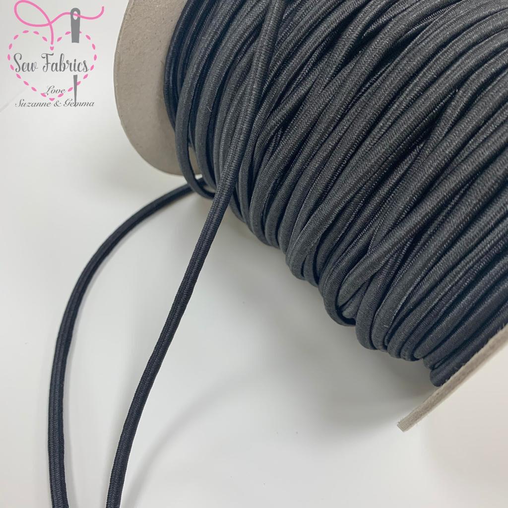 10mts x Black 3mm Cord Elastic