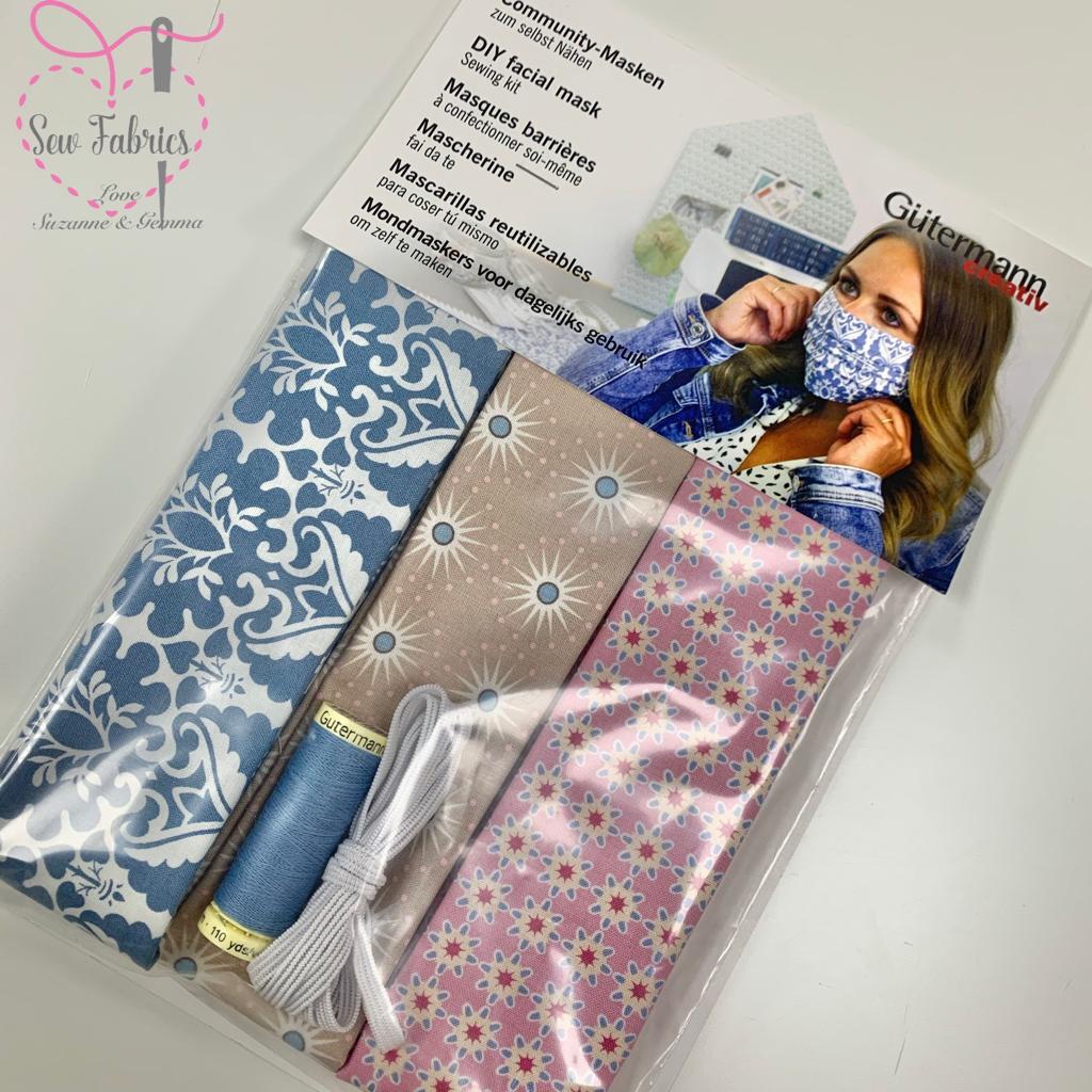 Gutermann Fabric Face Mask Sewing Kit To Make 3 Face Masks