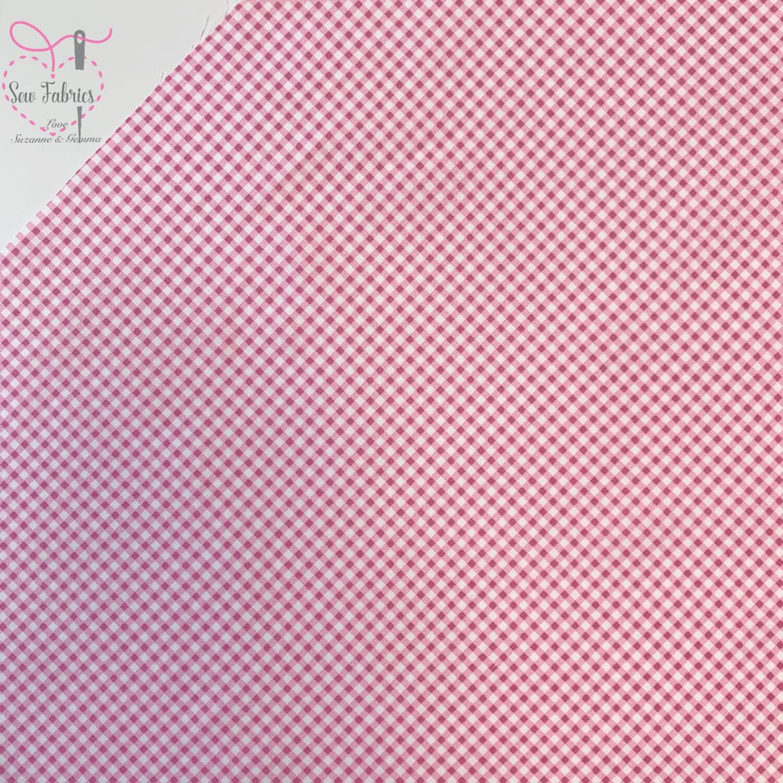 "Rose & Hubble Pink Gingham Print 1/8"" Cotton Poplin Fabric"