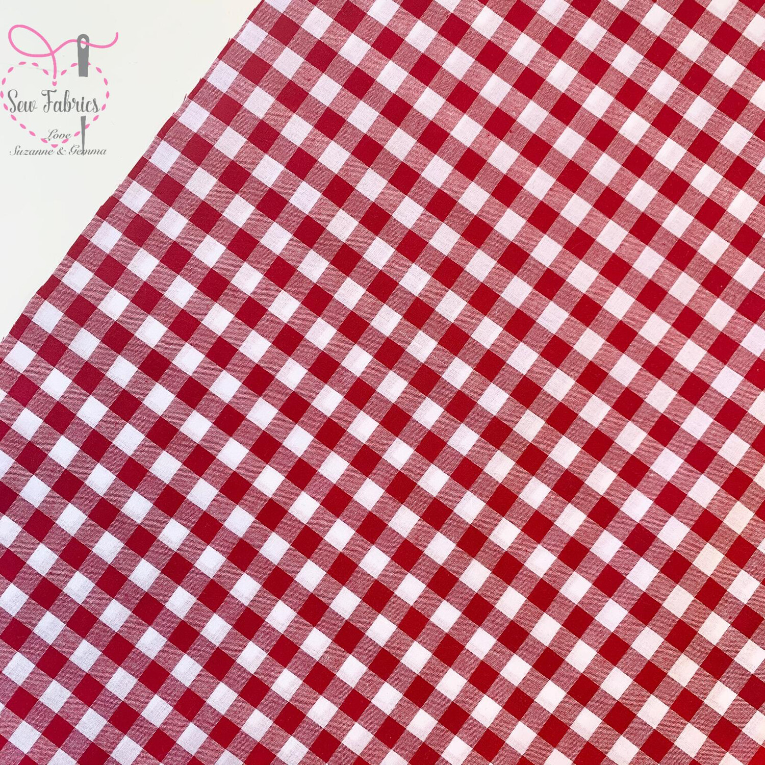 "John Louden Red Gingham 1/3"" 100% Yarn Dyed Cotton Fabric"