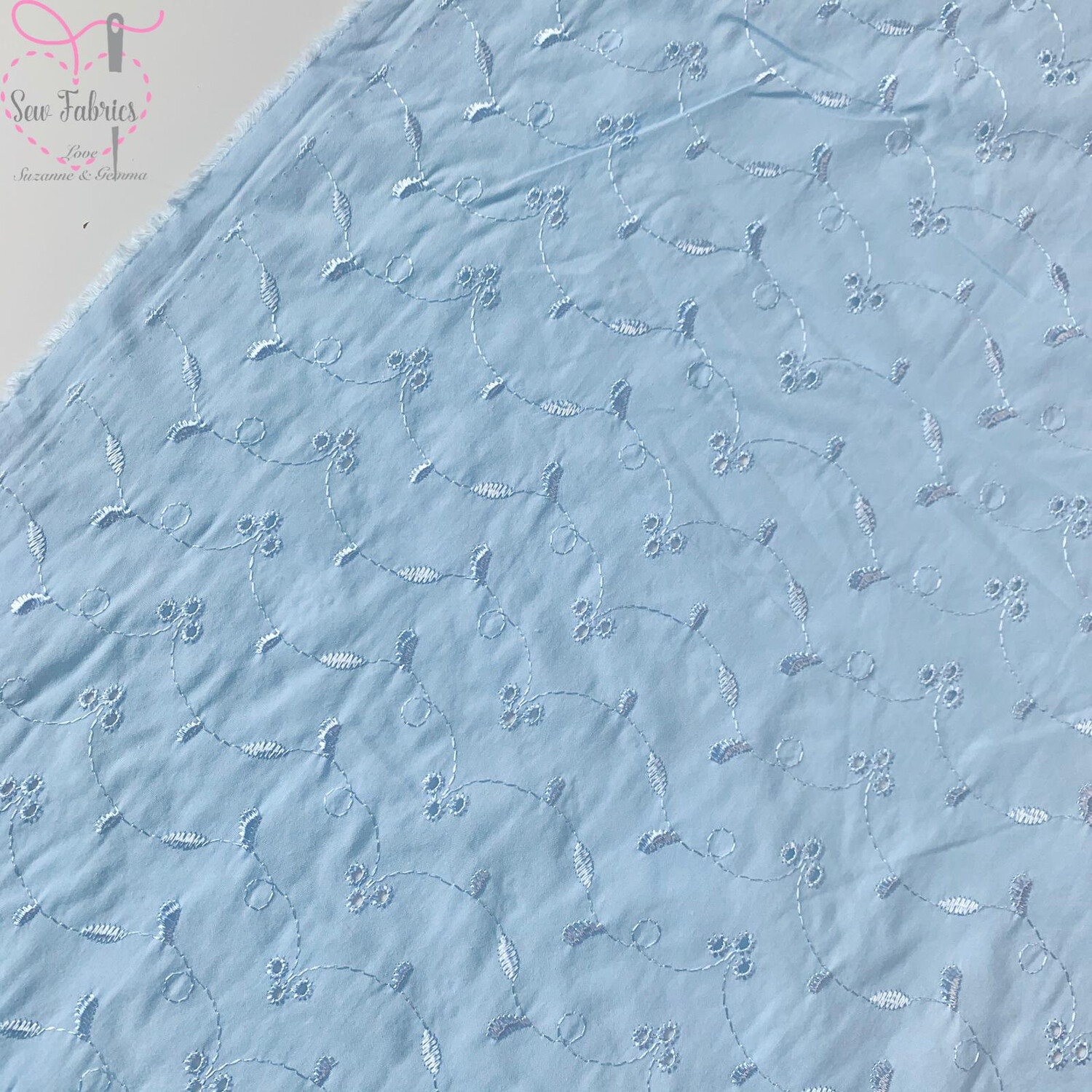 Broderie Anglaise Blue Polycotton Fabric, 3 Hole Pattern, Material Suitable for Dress, Blouse, Shirt