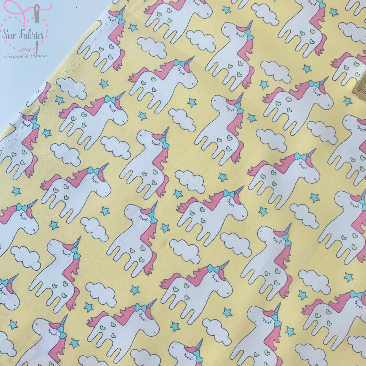 Rose and Hubble Yellow Unicorn Print Fabric 100% Cotton Poplin, Children's Material
