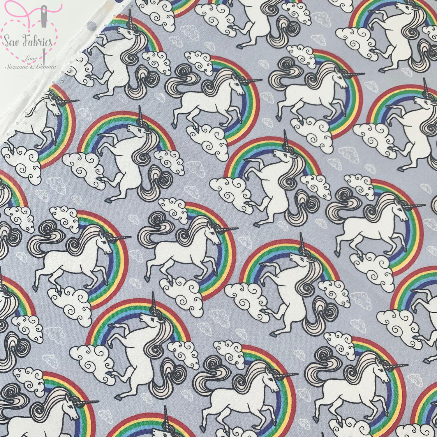 Rose and Hubble Silver Unicorn and Rainbows Print Fabric 100% Cotton Poplin, Children's Material