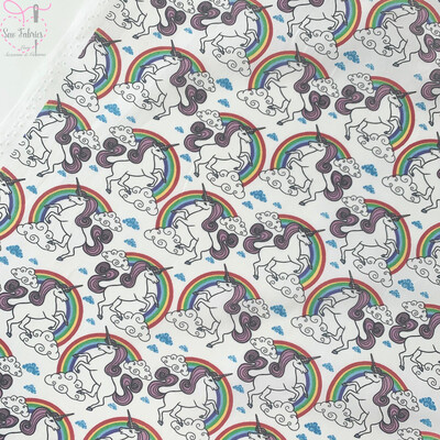 Rose and Hubble Ivory Unicorn and Rainbows Print Fabric 100% Cotton Poplin, Children's Material