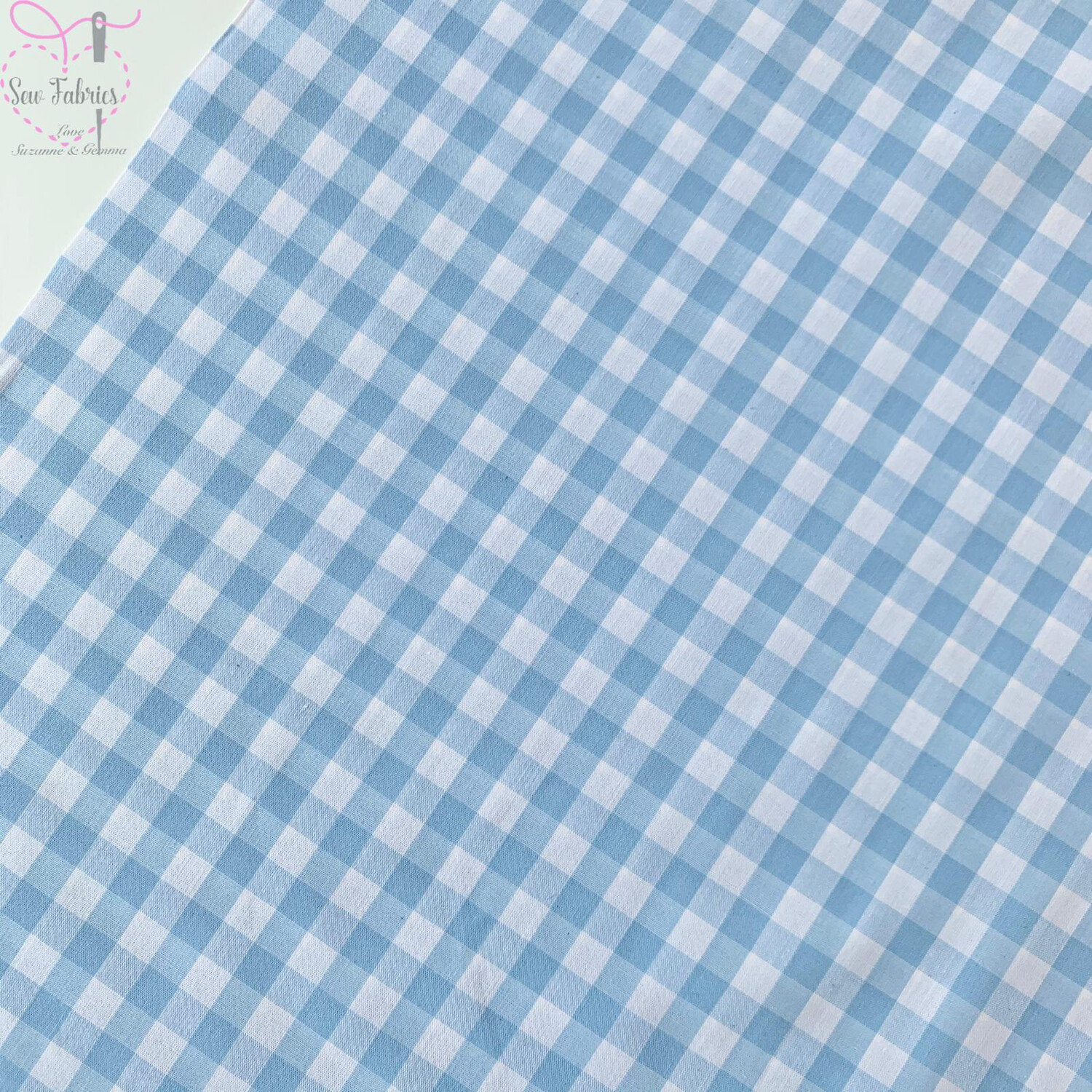 "John Louden Pale Blue Gingham 1/3"" 100% Yarn Dyed Cotton Check Fabric"