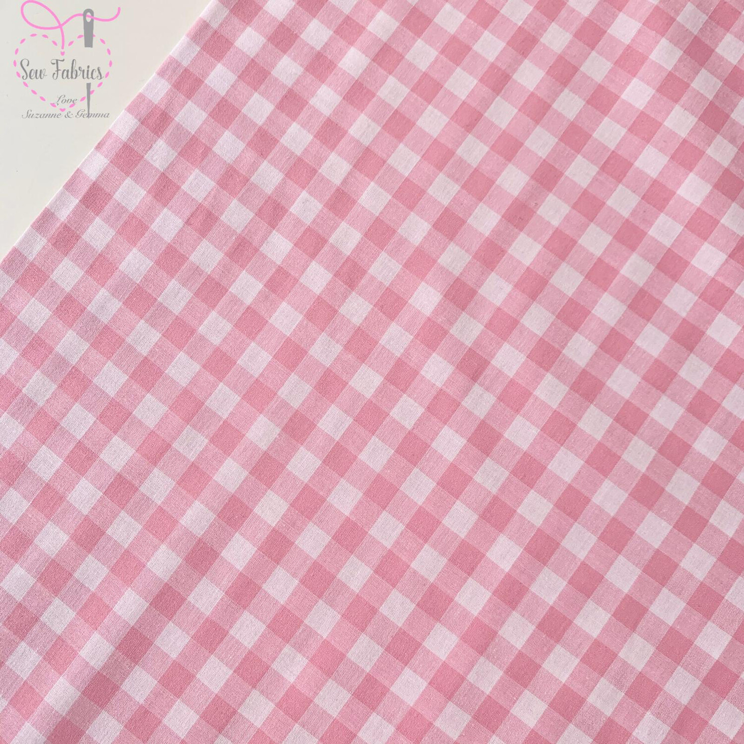 "John Louden Pink Gingham 1/3"" 100% Yarn Dyed Cotton Check Fabric"