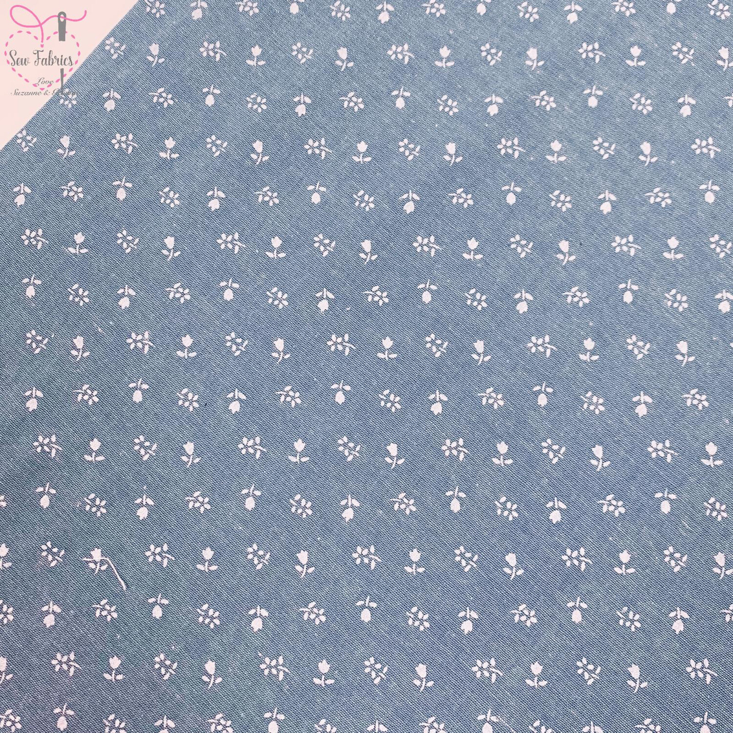 Denim Chambray Tulip Print Wide Width 100% Cotton Fabric