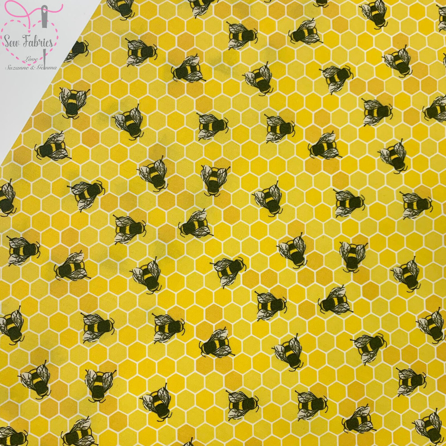 Rose and Hubble Honey Bee Print Fabric 100% Cotton Poplin