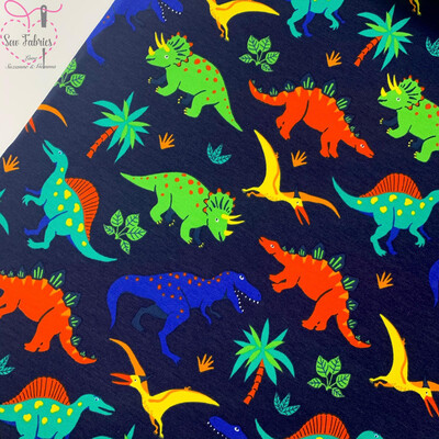John Louden Navy Dinosaur Print French Terry Cotton Elastane Jersey Fabric