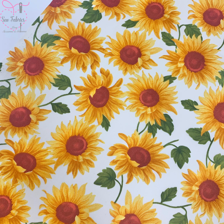 Rose & Hubble Ivory Sunflower Floral 100% Cotton Poplin Fabric