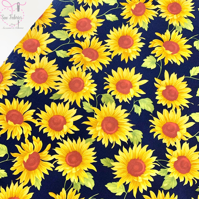 Rose & Hubble Navy Sunflower Floral 100% Cotton Poplin Fabric